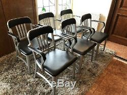 Rare Set Of 6 Emeco Navy Chairs Semi Upholstered Dining/office Chairs Aluminium