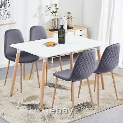 Rectangle Dining Table and 4 Velvet Chairs Diamond Upholstered Wooden Metal Legs