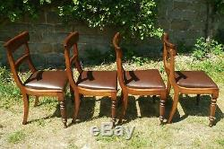 Regency Bar Back Mahogany Leather Hide Upholstered Set of 4 Dining Chairs C1820