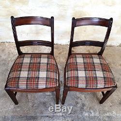 Regency Pair of Mahogany Tartan Upholstered Dining Chairs C1810