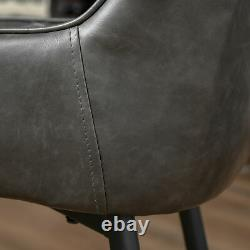 Retro Dining Chair Set of 2, PU Leather Upholstered Side Chairs with Metal Legs