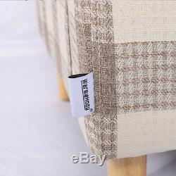 Retro Fabric Upholstered Tartan Tub Chair Sofa Armchair Dining Living Cottage UK