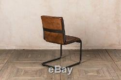 Retro Style Tan Leather Upholstered Dining Chair Vintage Finish Industrial