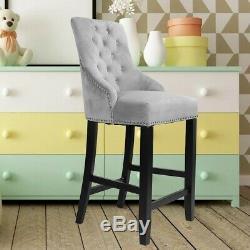 Retro Velvet Upholstered Breakfast Bar Stool Dining Kitchen High Back Chair Grey