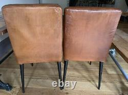 Retro Vintage Industrial Leather Dining Chairs x 4