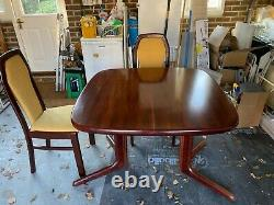 Rosewood Dining Room Table with Six Upholstered Chairs. 1m x 1m extends to 1.5m