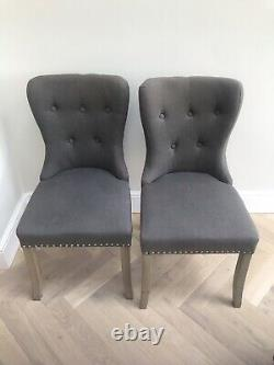 Rowico Button Back Studded Grey Dining Chairs