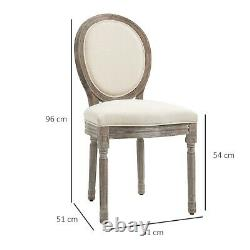 Rustic Dining Chairs Pair Distressed Look Kitchen Chair Upholstered Linen Padded