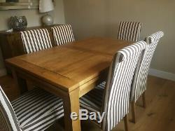 Rustic Natural Solid Oak 4' 7 Extending Dining Table and 6 Upholstered Chairs