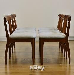SET OF SIX TEAK MID-CENTURY DINING CHAIRS Vintage 1960s Re-upholstered seats