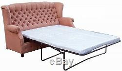 SOFA MOLLY upholstered chesterfield quilted high back wings sleeping function