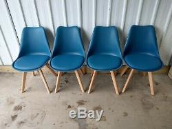 Saige Designer Upholstered Retro Style Dining Chairs X 4 Blue Rrp £219.98