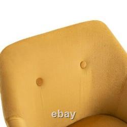 Scandinavian Dining Chairs Tub Nordic Mustard Upholstered Armchair Home Velvet