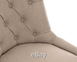 Scoop Button Back Dining Chair in Cream Linen with Black Legs Upholstered Chair
