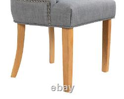 Scoop Dining Chairs Grey Linen With Button Back Chrome Knocker Oak legs