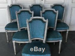 Set 6 French Upholstered Dining Chairs C1900 Lovely Original Patina