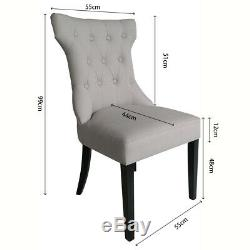 Set Of 2 Grey Fabric Dining Chairs Scoop Back Upholstered For Home & Restaurants