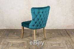 Set Of 4 Blue Teal Velvet Dining Chairs, Upholstered Side Chairs, Button Back