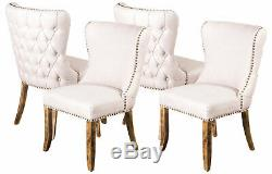 Set Of 4 Cream Linen Dining Chairs, Upholstered Side Chairs, Button Back Chairs