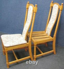 Set Of 4 Ercol Ash Hampton 944 Upholstered Back Dining Chairs In Light Finish