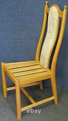 Set Of 4 Ercol Ash Wheatsheaf 956 Upholstered Back Dining Chairs In Light Finish