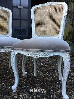 Set Of 4 French Louis Style Dining Chairs Newly Upholstered