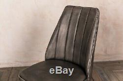 Set Of 4 Grey Faux Leather Upholstered Dining Chair Rib Stitched Modern Style