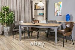Set Of 4 Grey Faux Leather Upholstered Dining Chair Vintage Leather Look