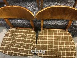 Set Of 4 Mid Century Butterfly Back Dining Chairs With Upholstered Seats VGC