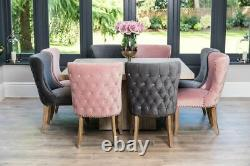 Set Of 4 Pink Velvet Dining Chairs With Armrests, Upholstered Carvers