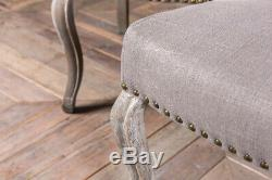 Set Of 4 Stone Grey Linen Upholstered Dining Chairs French Style Button Back