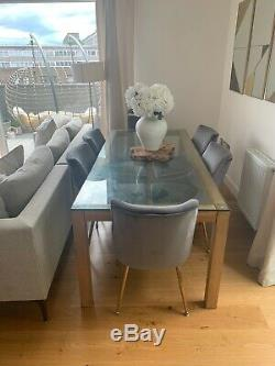 Set Of 6 Beatrix Dining Chairs Upholstered Velvet Grey From Cult Furniture