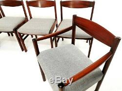 Set Of 6 Newly Upholstered Mcintosh Grey Herringbone Rosewood Dining Chairs