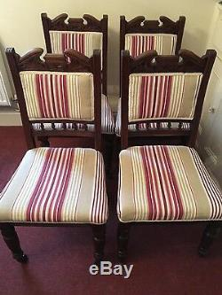 Set Of Four Antique Dining Chairs Newly Upholstered In Laura Ashley Fabric