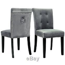 Set of 1/2/4 Dinning Chair Tufted Velvet Upholstered Chairs Armless Ring Studded