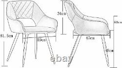 Set of 1/2 Dining Chairs Velvet Upholstered Seat Armchairs with Backrest Kitchen
