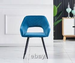 Set of 1/2 Dining Chairs Velvet Upholstered Seat Metal Legs Living Room Lounge