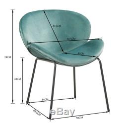 Set of 2Retro Style Armchair Living Room Velvet Fabric Upholstered Dining Chair