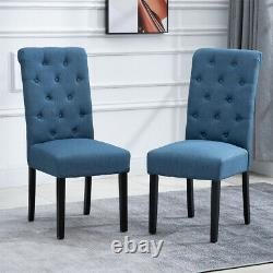 Set of 2/4/6 Dining Chairs Fabric Padded Seat Wooden Legs Dining Room Kitchen BN