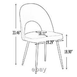 Set of 2/4/6 Dining Chairs Velvet Upholstered Seat Metal Legs Kitchen Restaurant