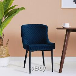 Set of 2 4 6 Velvet Dining Chairs Upholstered Distressed Lounge Chairs Navy Blue
