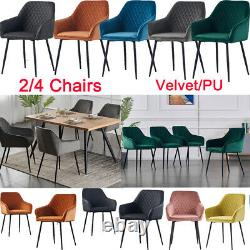 Set of 2/4 Dining Chairs Velvet Armchairs With Backrest Upholstered Seat Home UK