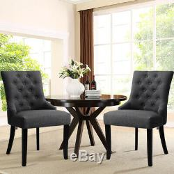 Set of 2/4 Fabric Upholstered Dinning Chair Button Back Living Room Accent Chair