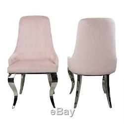 Set of 2 Baby Pink Velvet Dining Chairs with Chrome Legs Angelica ANE001