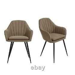 Set of 2 Beige Faux Leather Dining Tub Chairs with Black Legs Logan LOG008
