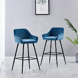 Set of 2 Blue Velvet Bar Stools Upholstered Padded Quilted Kitchen High Chairs