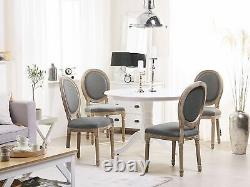Set of 2 Classic Dining Chair Round Back Grey Upholstered Pine Wood Legs Vernal