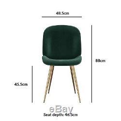 Set of 2 Dark Green Velvet Dining Chairs with Gold Legs Jenna JNN003