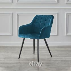 Set of 2 Dining Chairs Lint Upholstered Metal Legs Reception Tub Chair Dark Blue