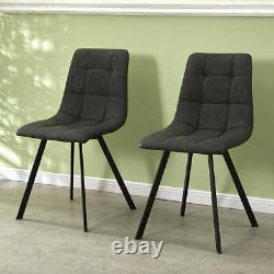 Set of 2 Dining Chairs PU Leather Upholstered Seat with Sturdy Metal Legs